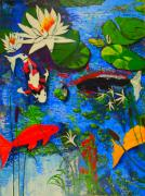 Cattail Paintings - Miami Koi Collage by Angela Annas