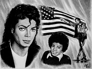 Brave Drawings Posters - Michael Jackson American Legend Poster by Andrew Read