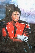 Autographed Framed Prints - Michael Jackson Autographed reprint Framed Print by J Nance