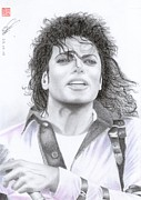 Michael Jackson Drawings Framed Prints - Michael Jackson - Bad Tour Framed Print by Eliza Lo