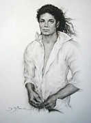 Sepia Chalk Framed Prints - Michael Jackson Framed Print by Guillaume Bruno