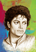 Celebrities Mixed Media Metal Prints - Michael Jackson stylised pop art drawing sketch poster Metal Print by Kim Wang