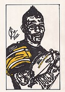 Steelers Drawings Framed Prints - Mike Wallace 3 Framed Print by Jeremiah Colley