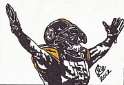 Pittsburgh Steelers Drawings Posters - Mike Wallace Poster by Jeremiah Colley