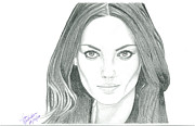 Actors Drawings - Mila Kunis by Gloria MacEachern
