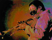 Green Jacket Framed Prints - Miles Davis Framed Print by Byron Fli Walker