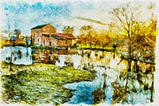 Building Mixed Media Posters - Mill by the river Poster by Jaroslaw Grudzinski