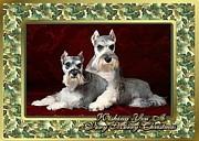 Miniature Schnauzer Paintings - Miniature Schnauzer Dog Christmas by Olde Time  Mercantile