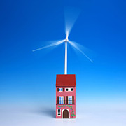 Wind Turbine Photos - Miniature wind turbine by Bernard Jaubert