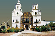Tucson Framed Prints - Mission San Xavier del Bac Framed Print by Linda  Parker