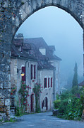 Misty Dawn In Saint Cirq Lapopie Print by Brian Jannsen