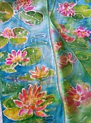 Silk Scarf Tapestries - Textiles Originals - Monet Water Lilies  by Shan Ungar