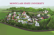 Colleges Drawings - Montclair State University by Rhett and Sherry  Erb