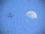 Signed Photo Prints - Moon and Plane Print by Chuck Staley