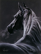 Black Horse Pastels Prints - Moonlight Print by Kim McElroy