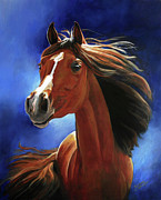 Red Horse Paintings - Moonlit by Suzanne Schaefer