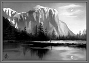 No Love Digital Art Posters - Moonlit Yosemite Lake Poster by Ronald Chambers