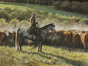 Cowboy Painting Originals - Morning In the Highwoods by Kim Lockman