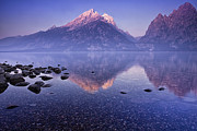 Mountain Reflection Prints - Morning Reflection Print by Andrew Soundarajan