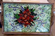 Red Glass Art Originals - Mosaic Rose Wooden Tray by Lisa Collinsworth