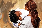Black Artist Pastels Posters - Mother And Child 2 Poster by Vannetta Ferguson