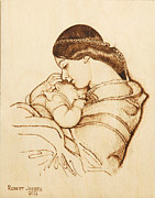 Child Pyrography Framed Prints - Mother and Child Framed Print by Robert Jerore