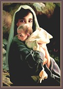 Baby In A Manger Prints - Mother and Child Print by Ronald Chambers