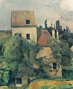 House.houses Framed Prints - Moulin de la Couleuvre at Pontoise Framed Print by Paul Cezanne