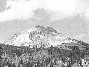 Pencil Drawing Photo Posters - Mount Lassen Poster by Frank Wilson