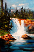 Mountain Falls Print by Robert Carver