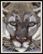 Wet Tapestries - Textiles Framed Prints - Mountain Lion Framed Print by Dena Kotka