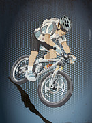 Cycling Metal Prints - Mountainbike Sports Action Grunge Color Metal Print by Frank Ramspott