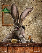 Hare Posters - Mr Lucky Poster by Will Bullas