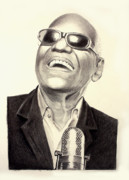Eye Details Drawings Prints - Mr. Ray Charles Print by Ted Castor