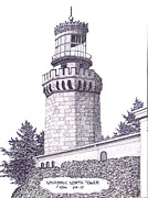 Lighthouse Drawings - Navasink North Tower by Frederic Kohli