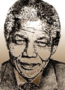 Fame Mixed Media Prints - Nelson Mandela Print by J McCombie