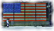 Patriotic Scenes Prints - Neon American Flag Print by Allen Beatty