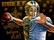 Www.sportsartworldwide.com  Paintings - New Drew Brees Original Painting For Sale Also 9 Limited Edition Prints For Sale by Sports Art World Wide John Prince