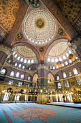 Tiled Framed Prints - New Mosque Interior in Istanbul Framed Print by Artur Bogacki