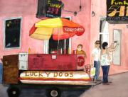 Streetscape Paintings - New Orleans Lucky Dogs by June Holwell
