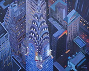 Midtown Painting Posters - New York City Midtown Manhattan with Chrysler Building at Night Poster by M Bleichner