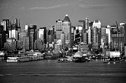 New York City Skyline Photos - New York City Skyline Black and White by Kathy Flood