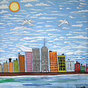 Skylines Paintings - New York by Luzaldo