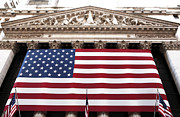 Flag Of Usa Prints - New York Stock Exchange Print by John Rizzuto