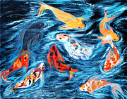 Good Luck Painting Metal Prints - Nine Koi fish Metal Print by Oksana Semenchenko