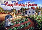 Garden Scene Paintings - no13A Happy Birthday Grandma by Walt Curlee