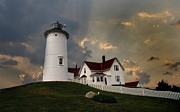 Photos Of Lighthouses Framed Prints - Nobska Lighthouse Framed Print by Skip Willits