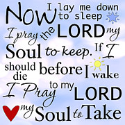 Prayer Digital Art Posters - Now I Lay Me Down to Sleep Poster by Mary Jane Cannon