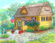 Landmark Pastels Prints - Noyes Library in Kensington MD Print by Nancy Heindl