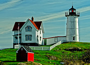 Nubble Lighthouse Framed Prints - Nubble Lighthouse II Framed Print by David Simpson